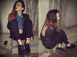 Wawa Baby - Tuk Creepers, Bdg High Rise Seamed Jean, Unif Jacket, Levi's® Denim Vest - UNIF Jacket