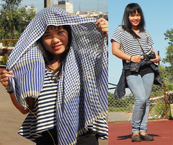 B T - Plaid Scarf, Stripped Tshirt, Jeans, Leather Shoes - Plaid scarf with denim and jeans.