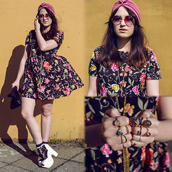 Rachael Dobbins ♡ - Oasap Floral Dress, Zerouv Rainbow Lens Shades, Asos Pink Turban, Missguided Lace Socks - Flowers and Rainbows