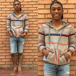 Michael Carr - American Eagle Outfitters Hoodie, American Eagle Outfitters Denim Cutoffs, American Eagle Outfitters Legend Tee, American Eagle Outfitters Bracelets (Variety), Lacoste Gabardine Cap, Urban Outfitters Huaraches - Bleak