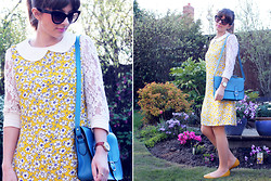 Tasha Hinde - So In Fashion Daisy Print Dress, Marc By Jacobs Cat Eye Sunglasses, Sammydress Blue Satchel, Primark Yellow Flats, Olivia Burton Hummingbird Watch - A tribute to daisies