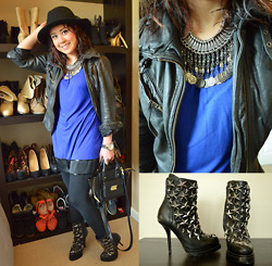 Clariza Jane - H&M Black Fedora, Cobalt Dress, Forever 21 Turkish Coin Necklace, Jeffrey Campbell See Stars, 3.1 Phillip Lim Satchel, Michael Kors Watch, All Saints Belvedere Jacket - 04122014 - Cobalt & Black