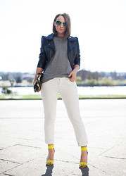 Jenaly Enns - H&M Faux Leather Jacket, Club Monaco White Jeans, H&M Heels - Inspired by art