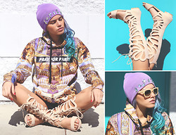 Alanna Durkovich - Iweartheheadress Lavender Gem Beanie, Pray For Paris 'Golden Pillars' Hoodie, Triwa 'Henry' Sunglasses, Amiclubwear Cut Out Gladiator Sandals - Lavender Overload