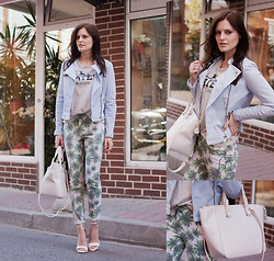 Viktoriya Sener - Zara Jacket, Zara Skater Tee, Fashion Union Brittanie Palm Tree Print Jean In Green, Zara Shopper Bag, Mango Sandals - PALM TREES