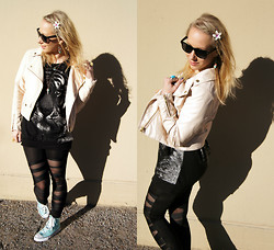 Johanna L - H&M Leather Jacket, Boohoo Sunglasses, Sammydress Tiger Print Knit, Born Pretty Store Ripped Leggings, Boohoo Mint Sneakers - Ripped up leggings