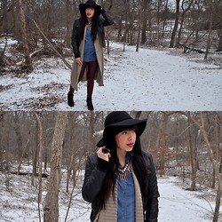 Alyssa Magallanes - H&M Denim Shirt, Urban Outfitters Spike Necklace, House Of Harlow Sunburst Ring, Forever 21 Floppy Hat, Forever 21 Long Sweater, Forever 21 Leather Jacket, Seeyoumonday Leather Leggings, Forever 21 Booties - Cold Front Couture.