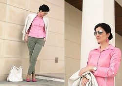 Teresa Leite - Mango White Leather Bomber Jacket (Very Old), Tany Couture Self Made Pink Shirt, Zara Printed Asparagus Green Jeans, Parfois White Hobo Bag, La Redoute Pink Pumps, Massimo Dutti Silver Mirrored Aviators, Eletta Vilamoura Special Edition Wrist Watch, Lanidor Pink Cut Out Wood Earrings - Sweet Pink Dreams