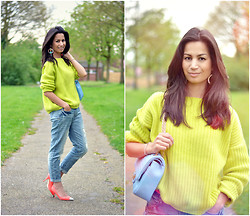 Serena Verbon - Miu Neon Pumps, Ripped Boyfriend Jeans, Missguided Lime Green Sweater, Loavies.Com Baby Blue Bag - Lime is my rhyme