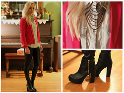 Kaitlin - Forever 21 Blazer, H&M Boots, Topman Collar Clip, Nordstrom Leather Leggings - Pop of Pink
