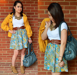 Clariza Jane - Turkish Coin Necklace, Yellow Felt Coat, Vintage Belt, White Tee, Marc By Jacobs Teal Purse, Michael Kors Dual Tone Watch, Suede Fringe Ankle Boots - 04132014 - Paisley & Vintage
