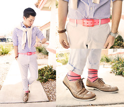 Shawn C. - Kenneth Cole Wingtips, Gap Chinos, Richer Poorer Socks, Huckstraps She Calls It Coral Belt - On Wednesdays, we wear pink. (Visit my blog)
