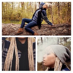 Mads Glocka - Vintage Sweater, Black Scarf, Favorite Beanie, Dark Blue, Facorite Moccasins - No surprise