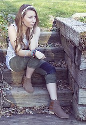 Bre Christensen - Francesca's Braided Headband, Forever 21 Booties, Free People Green Patch Boyfriend Jeans, Forever 21 Bangles, Nordstrom Crocheted Tank - Boho Chic