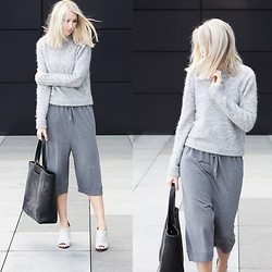 Joyce Croonen - Acne Studios Sweater, Acne Studios Culottes, Alexander Wang Mules, Otherstories Bag - All grey look with culottes