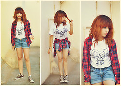 Elsa Lucía Flores - Divided Red & Blue Flannel, Alce Clothing The All Seeing Eye, Abercrombie Denim Shorts - Nevermind