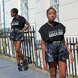 Vanessa M. - Asos Outlaw Shirt, Frontrowshop Cross Belt, Asos Choker, Cafe Society Snakeskin Shorts, Frontrowshop Cut Out Shoes - OUTLAW