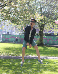 Lenny Pham - Zara Jacket, Zara Plain White T, Prada Foldable Shades, Topman Green Shorts, Asos Shoes - The Funky Summer