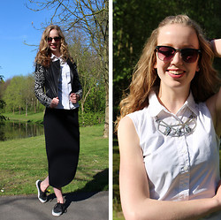 Sophie - Ichi Maxi Skirt, Vero Moda Jacket, Vans Sneakers, Primark Glasses, H&M Necklace - Black and white spring