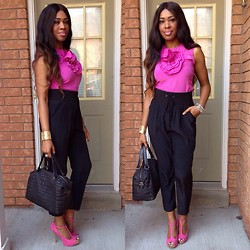 Sophia Noronha - Bcbg Silk Top, Juicy Couture Silk Pants, Zara Quilted Bag, Inc Pink Suede Tstraps, Links Of London Bracelet - Pretty in Pink