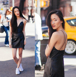 Jennifer Wang - Barry M Burgundy Lipstick, Missguided Faux Leather Bodysuit, Missguided Faux Leather Skirt - OFF DUTY