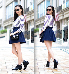 Monica W - Zara Top, Goodnight Macaroon Skater Skirt, Zara, Karen Walker - Ankle Booties with Stripes.