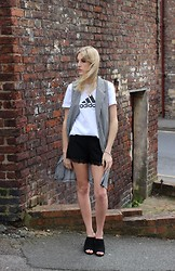 Charlotte Lewis - Next Mules, Adidas Logo Tee, In Love With Fashion Gingham Sleeveless Jacket, Firetrap Lace Trim Shorts - Monochrome Mules, Gingham and Lace!