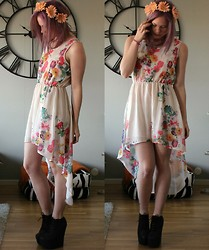 Sara Andersson - Jeffrey Campbell 99 Tie 2, Topshopwq Flower Dress, Handmade By Me Flower Headband - Summertime sadness