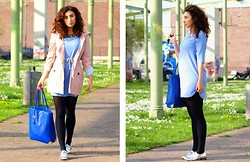 Samieze - Koton Jacket, In Love With Fashion Dolphin Dress, Justfab Bag, Justfab Silvers Shoes - Pastels for the win