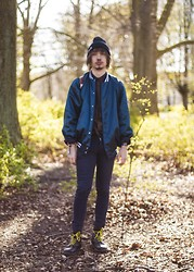 Timothy Pettersson - Dr. Martens Docs, Cheap Monday Jeans, Second Hand Baseball Jacket, Hat - Helloo