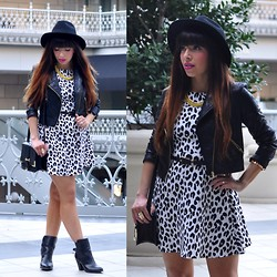 Alyssa Magallanes - The Hatter Company Fedora, I.N. San Francisco Moto Jacket, Collective Concepts Leopard Dress, Forever 21 Purse, Forever 21 Booties - Uptown Girl.
