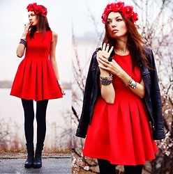 Lena Tsoon - Chic Wish Dress, Cult Gaia Flower Crown, Choies Boots - Chicwish dress