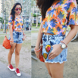 Shayne B - Topshop Denim Cut Offs, Forever 21 Beaded Bracelet - Orange You Glad