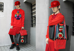 Andre Judd - Givenchy Antigona Tote, Céline Nano, Jeffrey Rogador Red Sweater, Drei Soriano Neoprene Pleated Skirt Shorts, Raf Simons Creeper Laceups, Sacred Heart Patches, Red Beaded Neckpiece, Embroidered Patch, Embroidered Cap - SACRED HEART