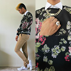 AJ SB - Funwithneedles Acorn Ring, Cotton On Faux Gold Chain Necklace, 21 Men Floral Sweater, Converse White Classic, Cotton On Skinny Chino Pants - Floral Thug