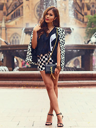 Anniepop Nguyen - St Frock The Insider Cape, Saint Laurent Ysl Cassandre Bag - Check on Checks
