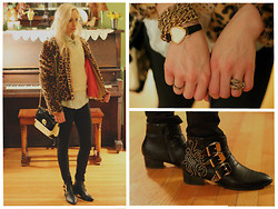 Kaitlin - Forever 21 Leopard Jacket, Boots, Gift Boots, Vintage Heart Watch, Steve Madden Purse, H&M Claw Ring - Seeing spots