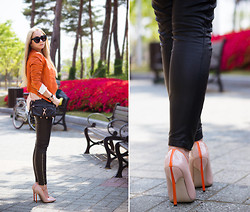 Olga Choi - Rebecca Minkoff Bag, Michael Kors Jacket, Zerouv Sunglasses, Martofchina Stilettos, Olga Choi Jewerly - Stiletto