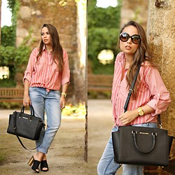 Mondaytofriday Blog - Sheinside Shirt, Michael Kors Bag, Mustang Shoes, Zara Jeans - Stripes