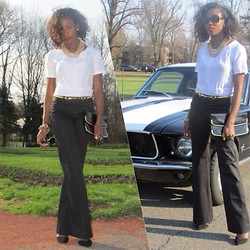 Sheek P. - H&M Silk Blouse, Victoria's Secret Pants - Black and White
