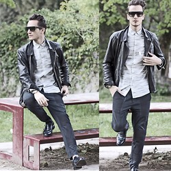 I N F A S H I O N I T Y a style story - Cos Vertical Lines Shirt, 3.1 Phillip Lim Embodied Pants S/S 13, The Kooples Dark Blue Leather Jacket, Prada Double Monk Strap - L I N E S