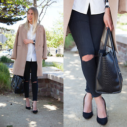 Sara Moeller - H&M Coat, H&M Shirt, Dr. Denim Jeans, Asos Pumps, Bag - Thank God It's Friday.