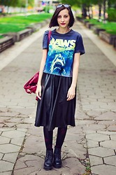 Evilish Queeny - H&M Jaws Tee, Choies High Waist Leather Skirt - Jaws