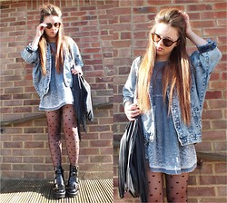 Amelia Breading - Primark Heart Tights, Frontrowshop Denim Jacket, Primark Fringe Bag, H&M Sunglasses - ANOTHER BRICK IN THE WALL