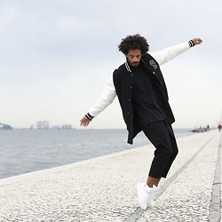 Oli Worlds - Broke Out Oversize Black Tee, Hugo Costa Black Pants, Hugo Costa White Sneakers, Majestic Athletic Bomber Jacket - BALANCE VS GRAVITY