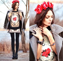 Lena Tsoon - Cult Gaia Flower Crown, Chic Wish Sweater, Chic Wish Bracelet - Red roses