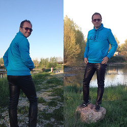 Nikolaus H - Esprit Blue Sweater, Grain De Malice Leather Pants, Hugo Boss Sneakers - Sweater and leather