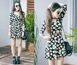 Gabriela Araujo - H&M Sunnies, Forever 21 Daisy Dress, Rener Spiked Bag, Sammydress Cut Out Boots - Note To Self