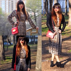 Alyssa Magallanes - H&M Snakeskin Dress, House Of Harlow Sunburst Ring, H&M Red Purse, Urban Outfitters Sunglasses, Ark & Co. Leather Jacket, Bamboo Wedge Booties - Rachel Zoe Love.