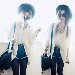 Agata P - Beige Loose Sweater, Necklace - We're Insane But Not Alone
